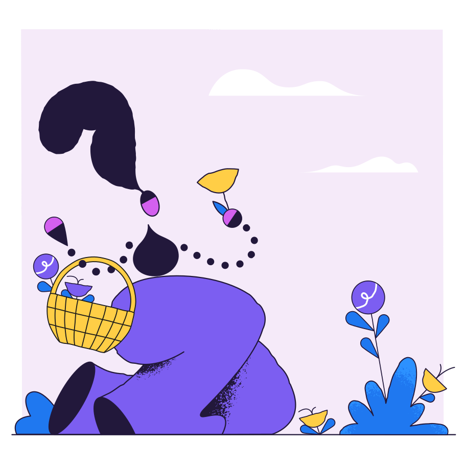 Collecting flowers Clipart illustration in PNG, SVG