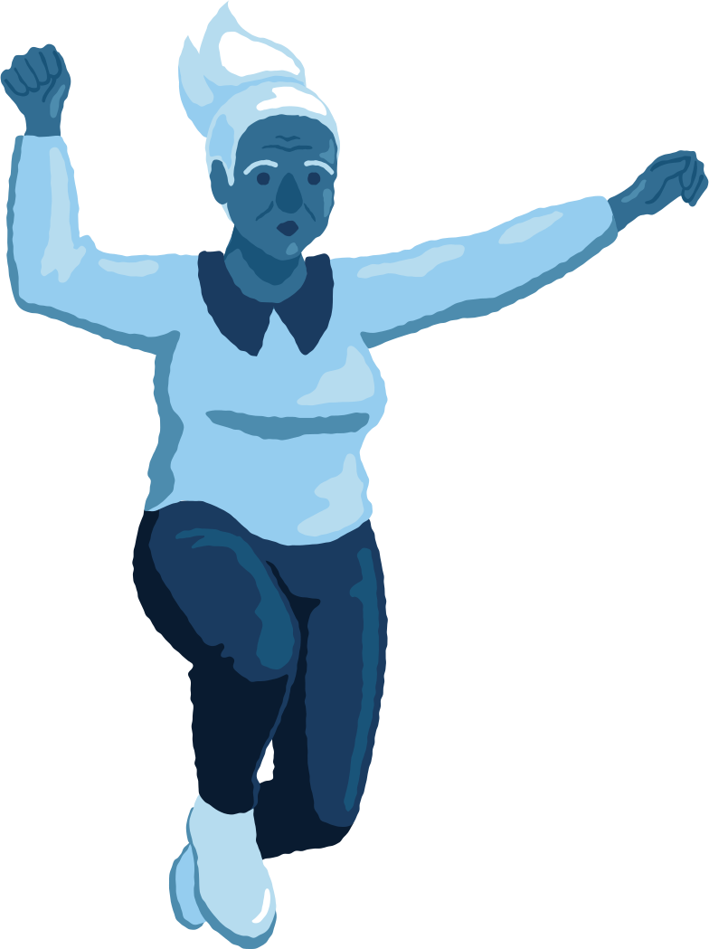 old woman jumping front Clipart illustration in PNG, SVG