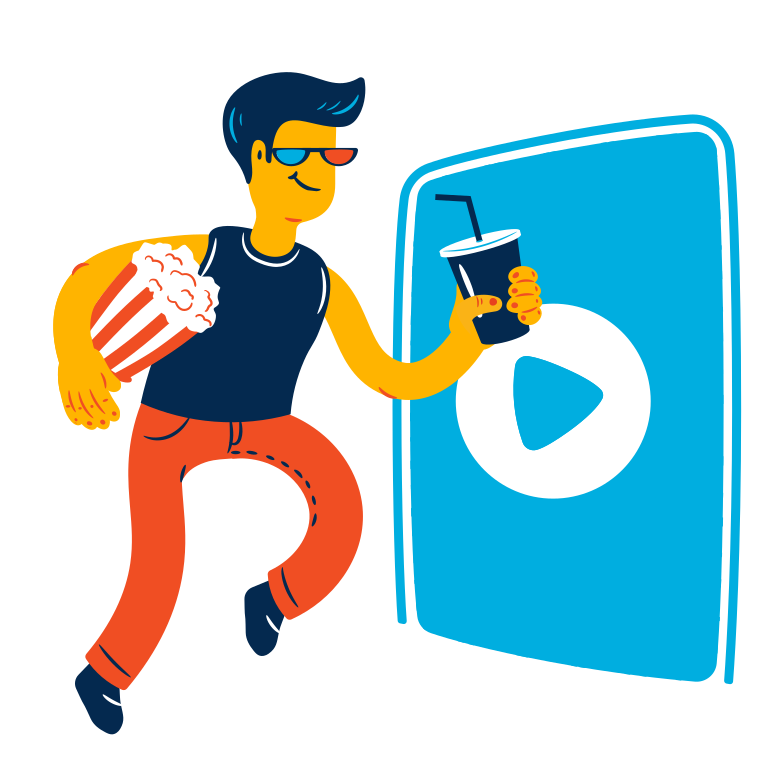 Man goes to the cinema Clipart illustration in PNG, SVG