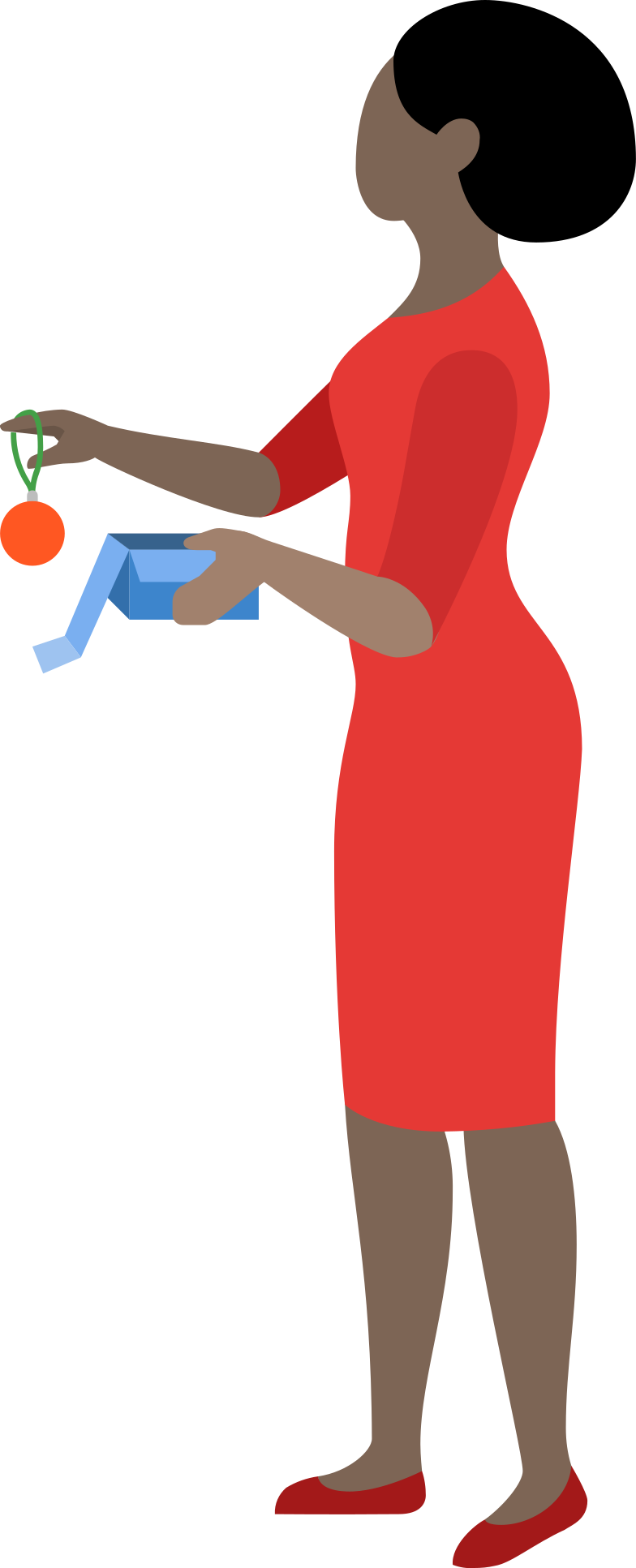 Frau mit box und weihnachtsball Clipart-Grafik als PNG, SVG