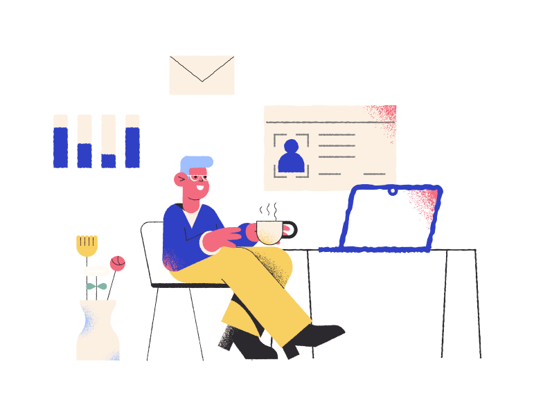 Working remotely Clipart illustration in PNG, SVG