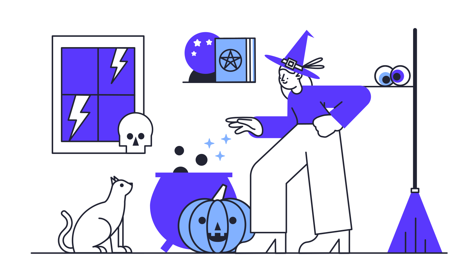 Preparing for Halloween Clipart illustration in PNG, SVG