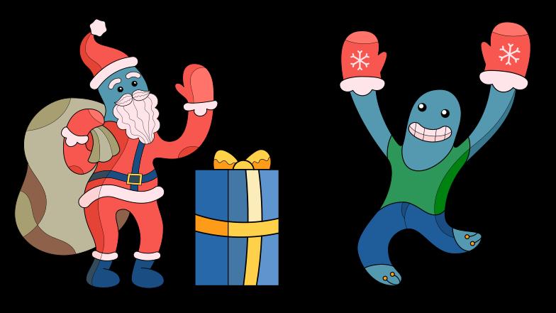 Santa, danke für das geschenk! Clipart-Grafik als PNG, SVG