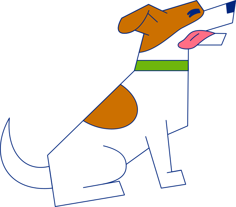 sitting dog tongue out Clipart illustration in PNG, SVG