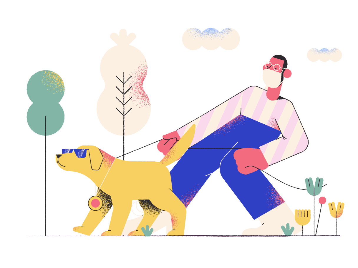 style Walking a dog Vector images in PNG and SVG | Icons8 Illustrations