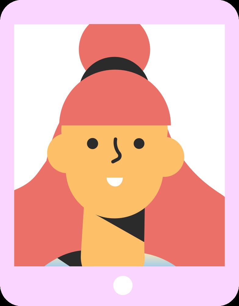 tablet girl Clipart illustration in PNG, SVG