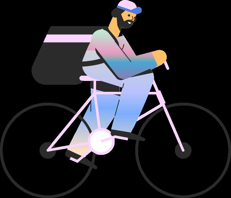 delivery  man on bike Clipart illustration in PNG, SVG