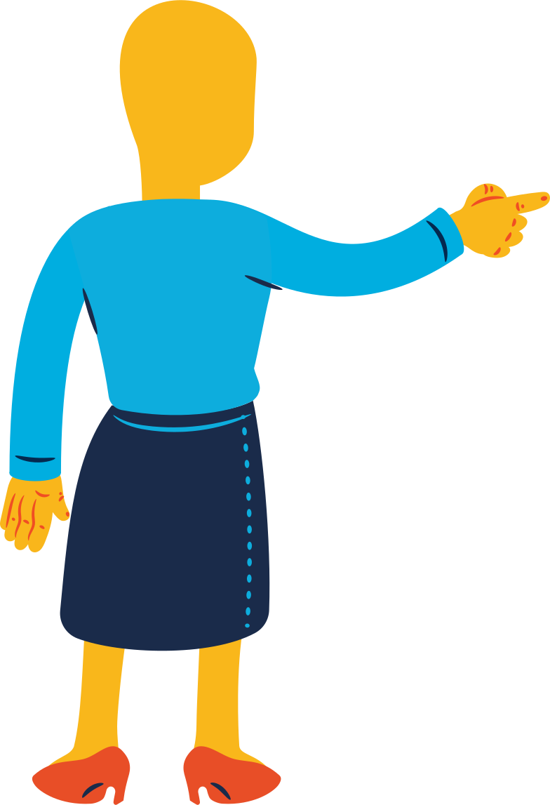 woman pointing back Clipart illustration in PNG, SVG