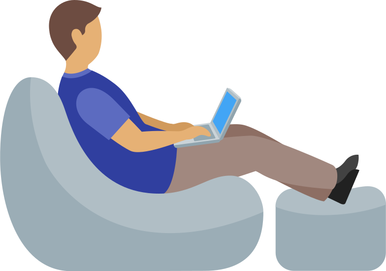 man working with laptop sitting in armchair Clipart illustration in PNG, SVG