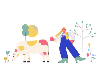 style Farmer girl and cow images in PNG and SVG | Icons8 Illustrations