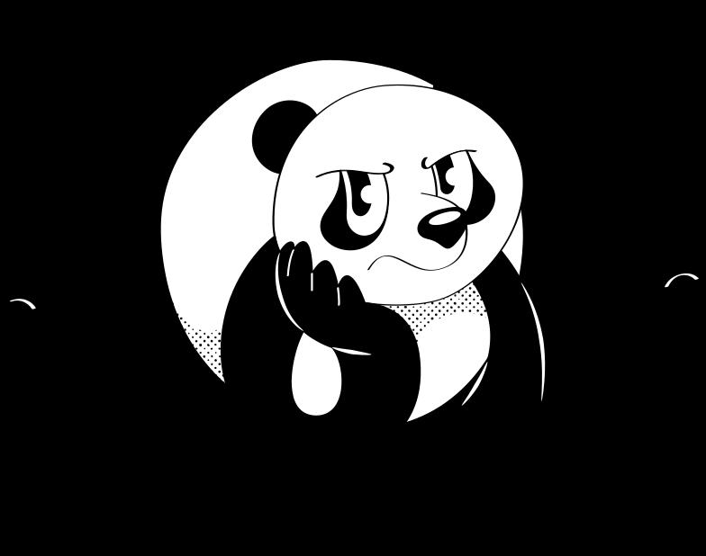 sad panda Clipart illustration in PNG, SVG