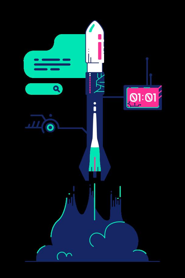 Rocket launch Clipart illustration in PNG, SVG