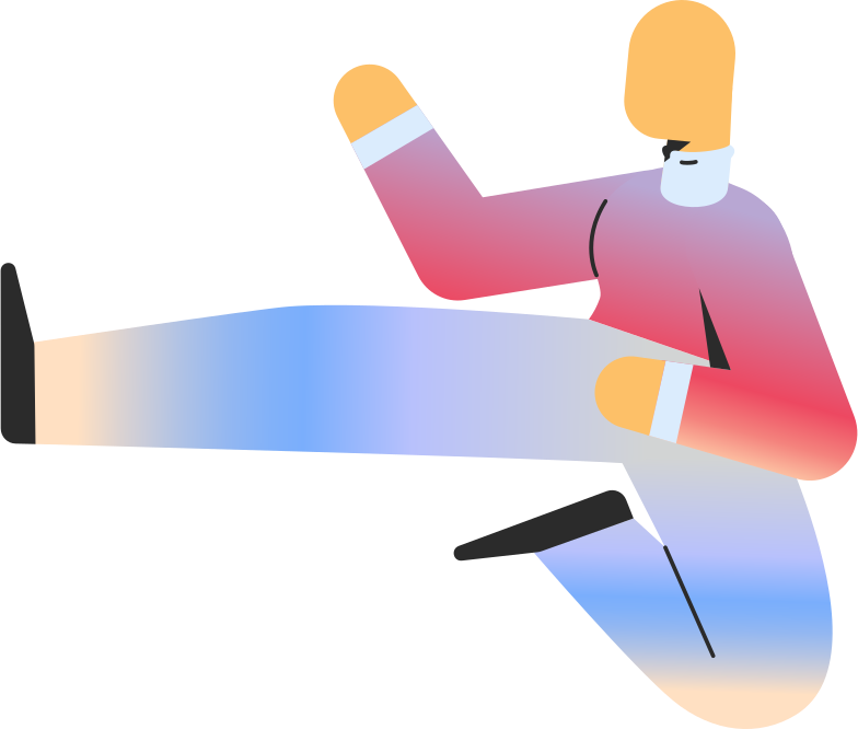 adult jump kick Clipart illustration in PNG, SVG