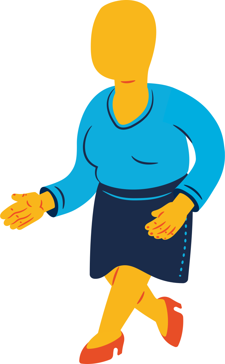 chubby woman walking Clipart illustration in PNG, SVG