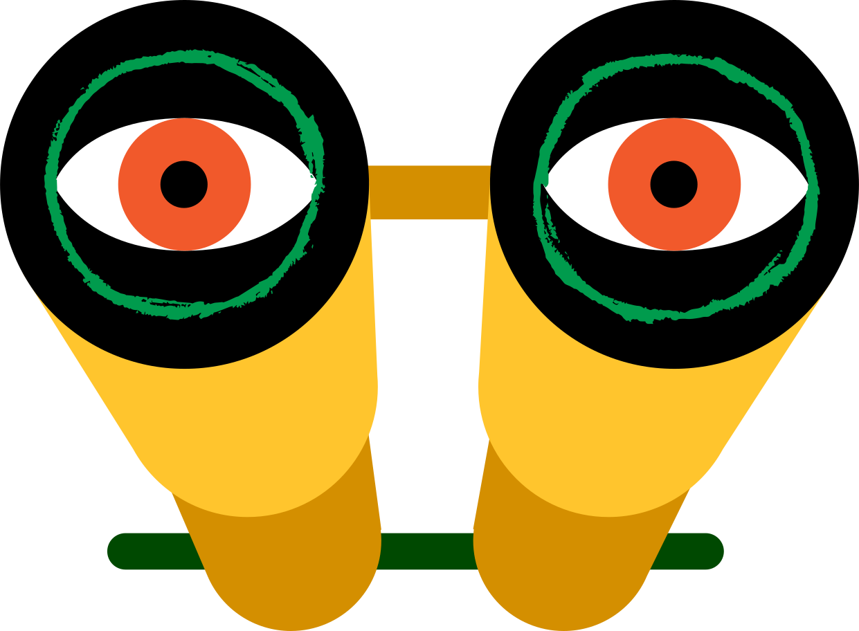 binocular with eyes Clipart illustration in PNG, SVG