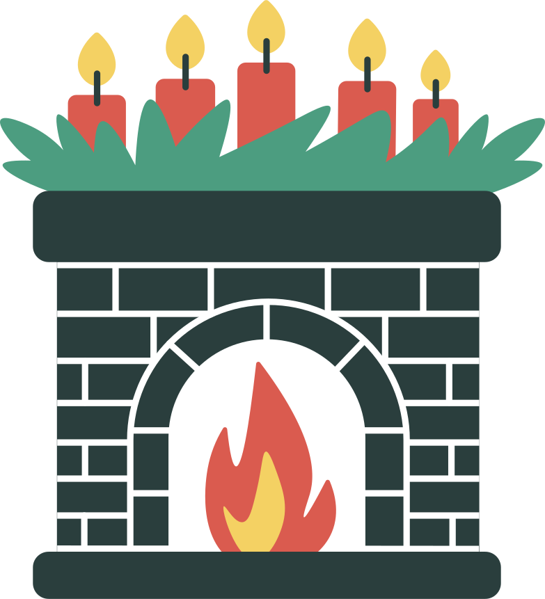 fireplace in christmas decorations Clipart illustration in PNG, SVG