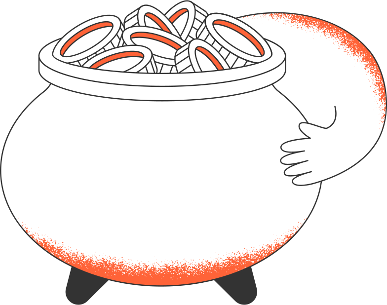 pot and coins Clipart illustration in PNG, SVG