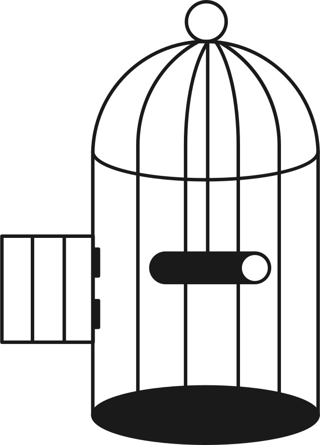 cage with open door and slider Clipart illustration in PNG, SVG
