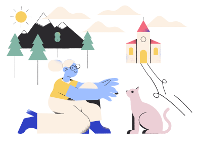 style Friendship of a girl and a cat images in PNG and SVG | Icons8 Illustrations