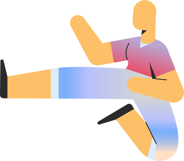 adult in shorts jump kick Clipart illustration in PNG, SVG
