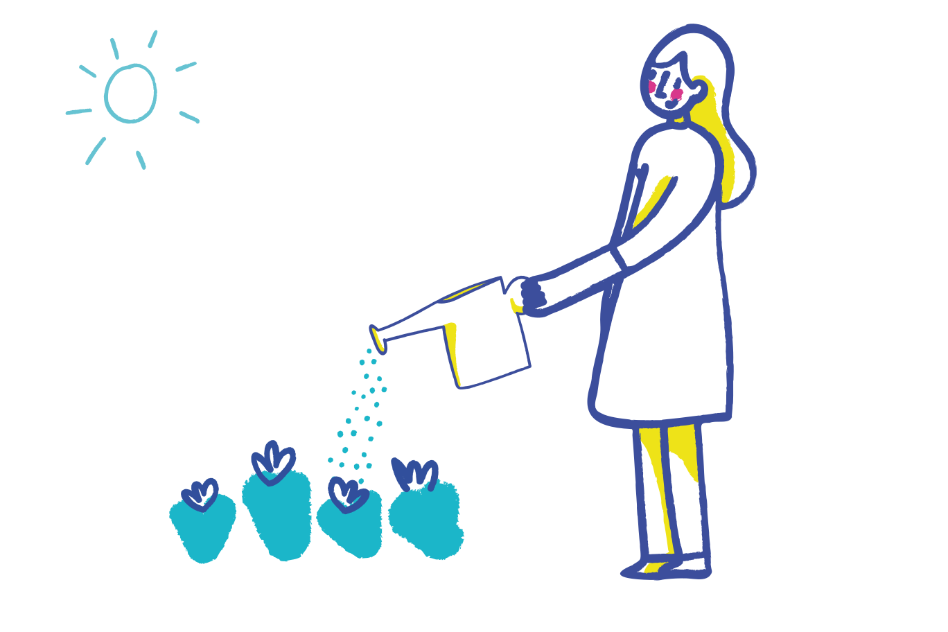 Watering flowers Clipart illustration in PNG, SVG