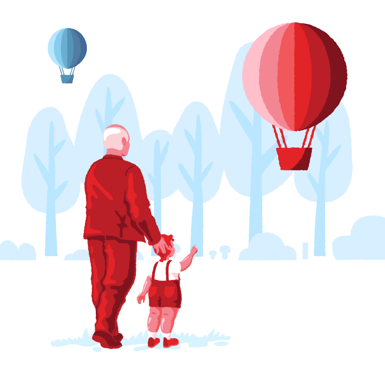 Hot air balloon flies away Clipart illustration in PNG, SVG