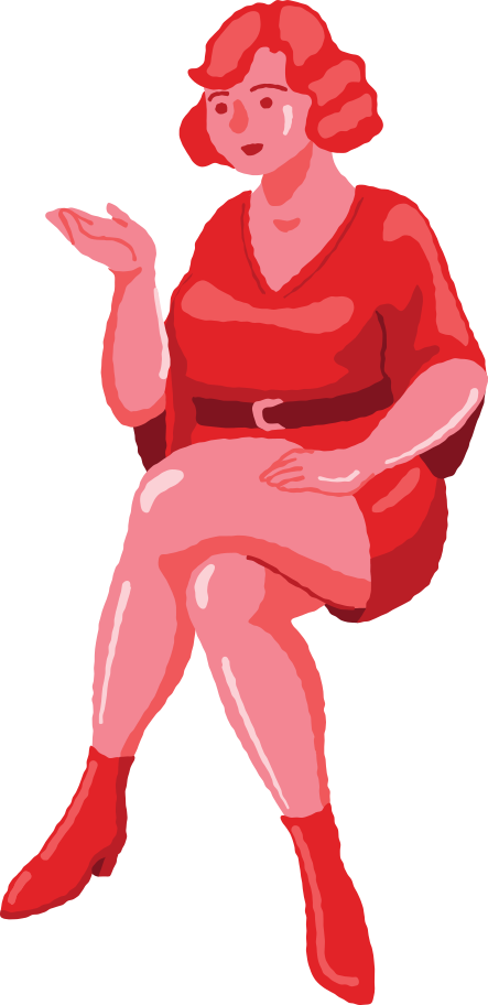 curvy woman sitting front Clipart illustration in PNG, SVG