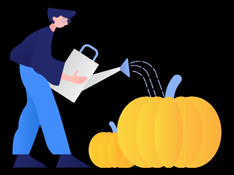 Growing pumpkins Clipart illustration in PNG, SVG