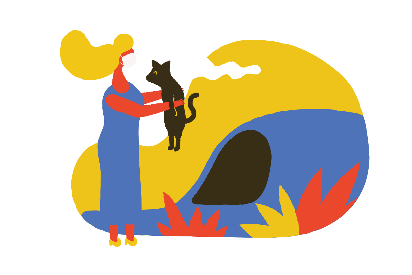 Finding a runaway cat Clipart illustration in PNG, SVG
