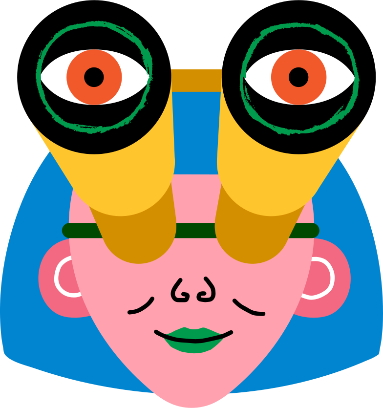 girl head with binoculars Clipart illustration in PNG, SVG