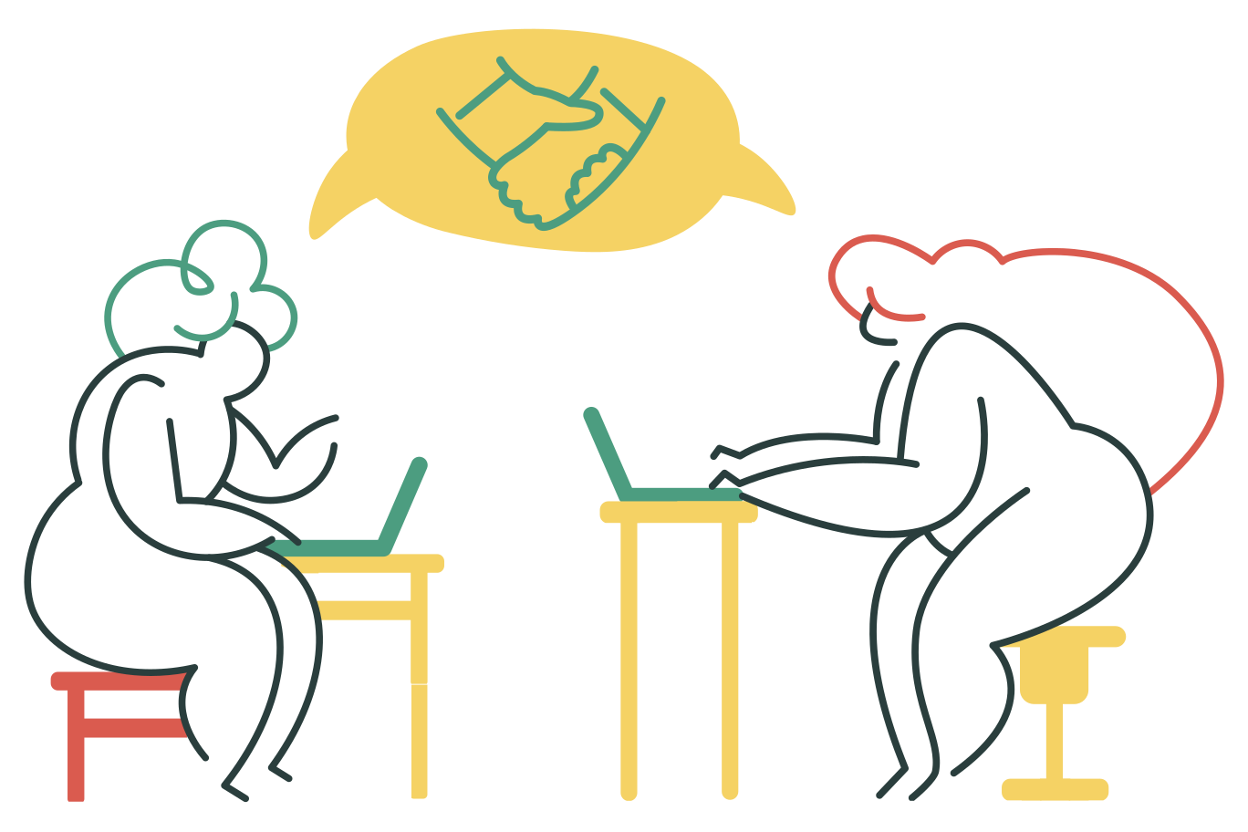 Work collaboration Clipart illustration in PNG, SVG