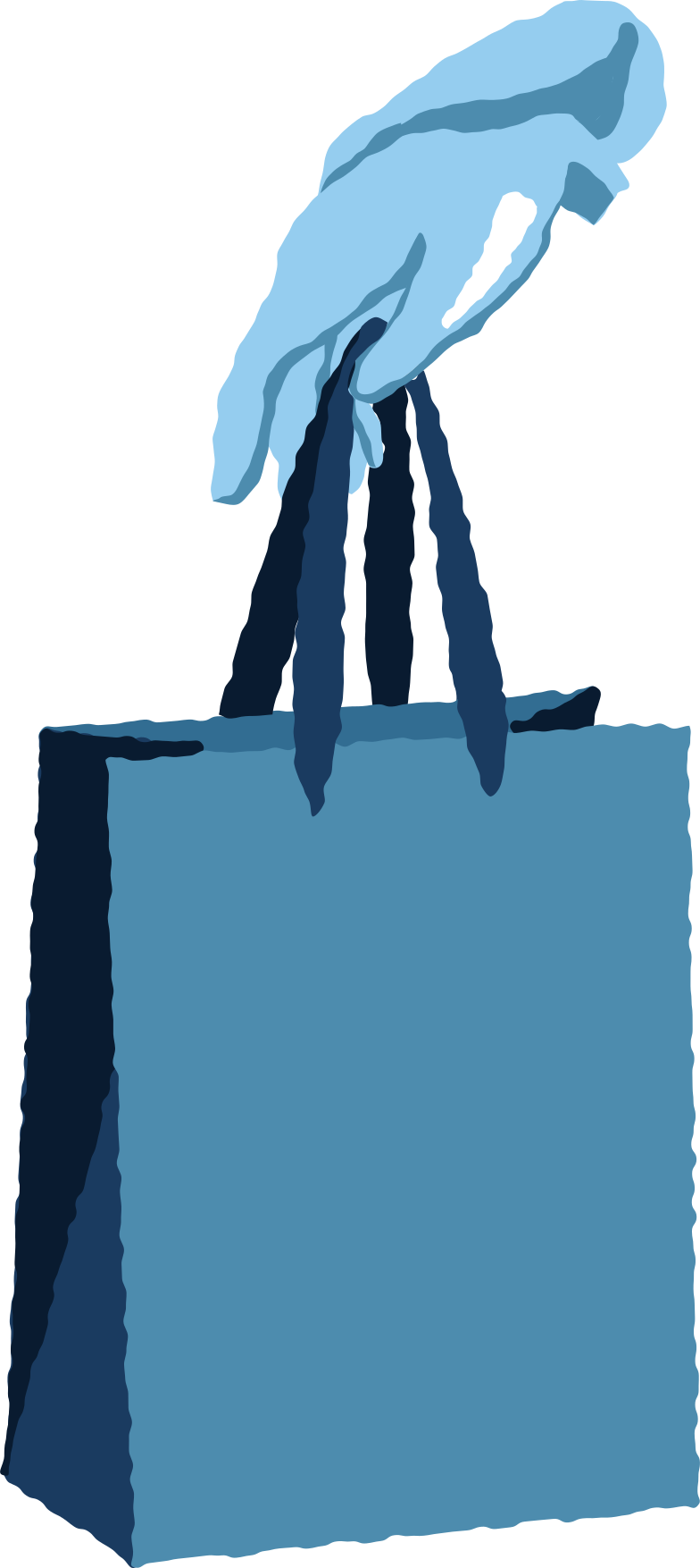 blue arms with package Clipart illustration in PNG, SVG