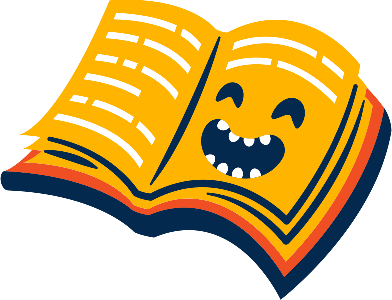 book laughing Clipart illustration in PNG, SVG