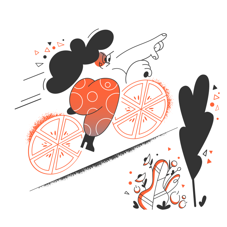 Ride a bike in the forest Clipart illustration in PNG, SVG