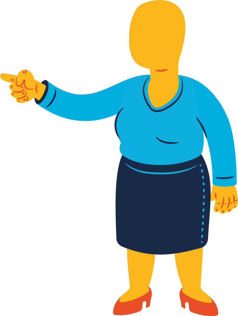 chubby woman pointing Clipart illustration in PNG, SVG