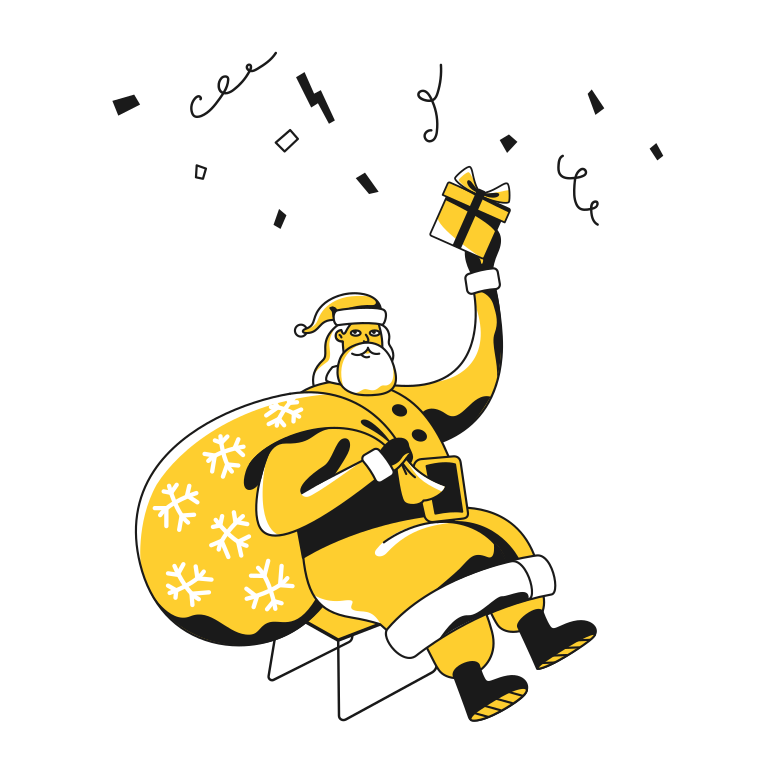 Santa with gift Clipart illustration in PNG, SVG