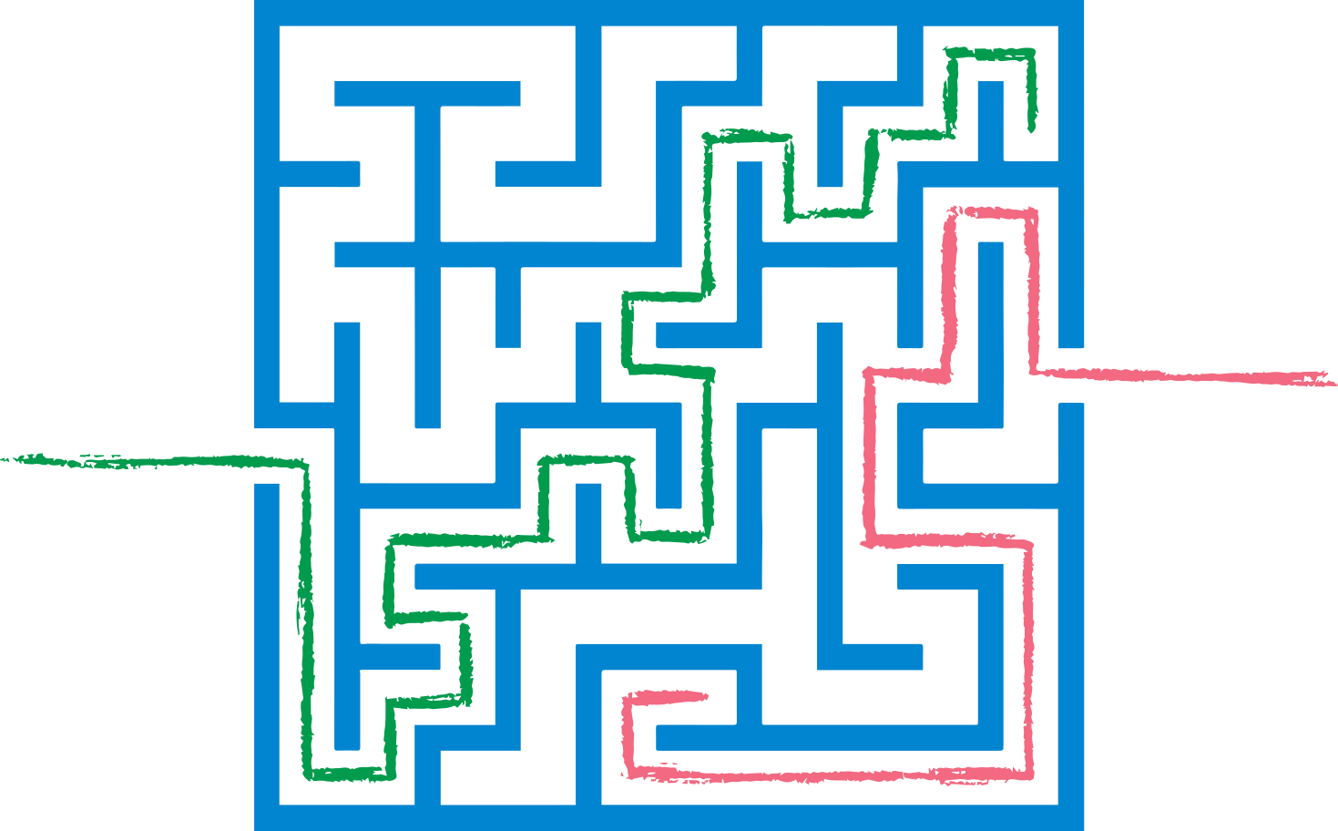 red and green path maze Clipart illustration in PNG, SVG