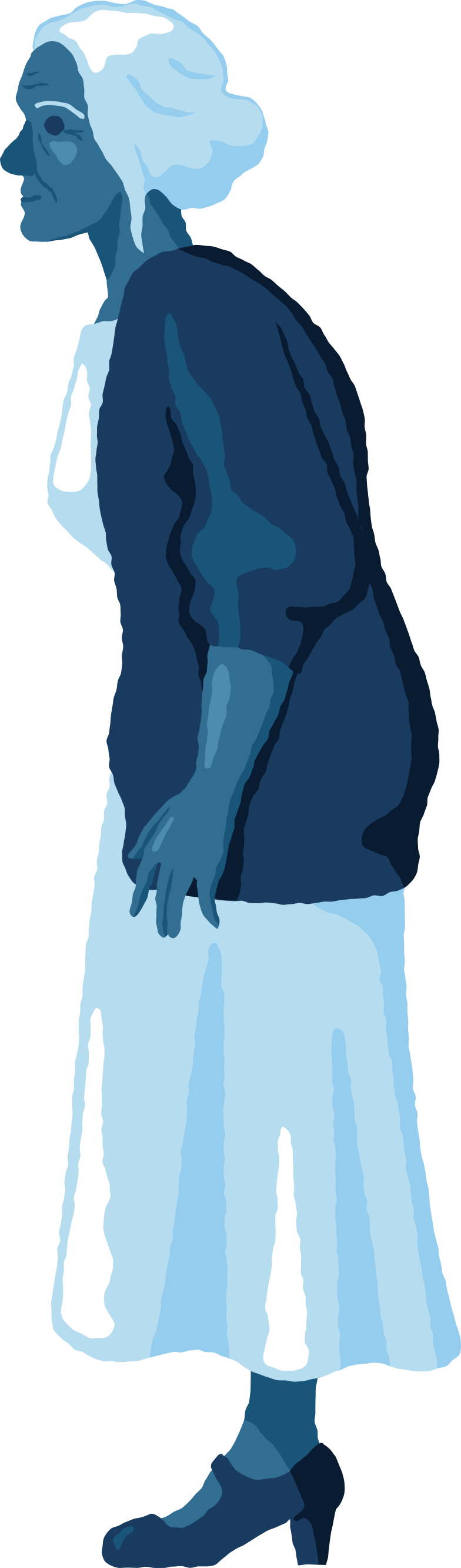 old woman standing profile Clipart illustration in PNG, SVG