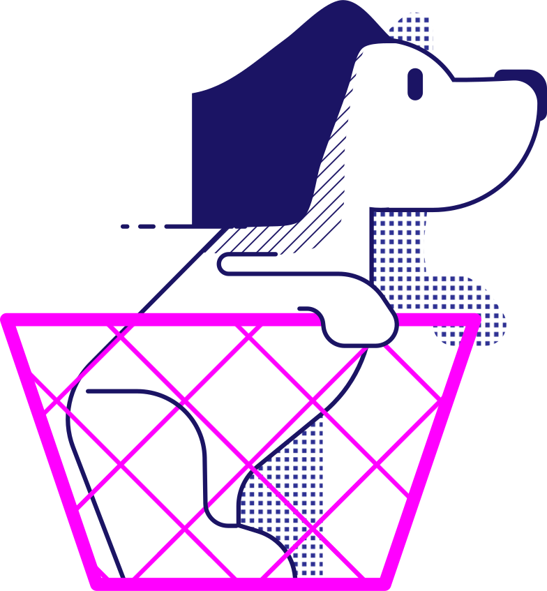 style y traveling dog in the basket Vector images in PNG and SVG | Icons8 Illustrations