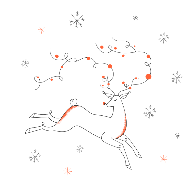 Snow and deer Clipart illustration in PNG, SVG