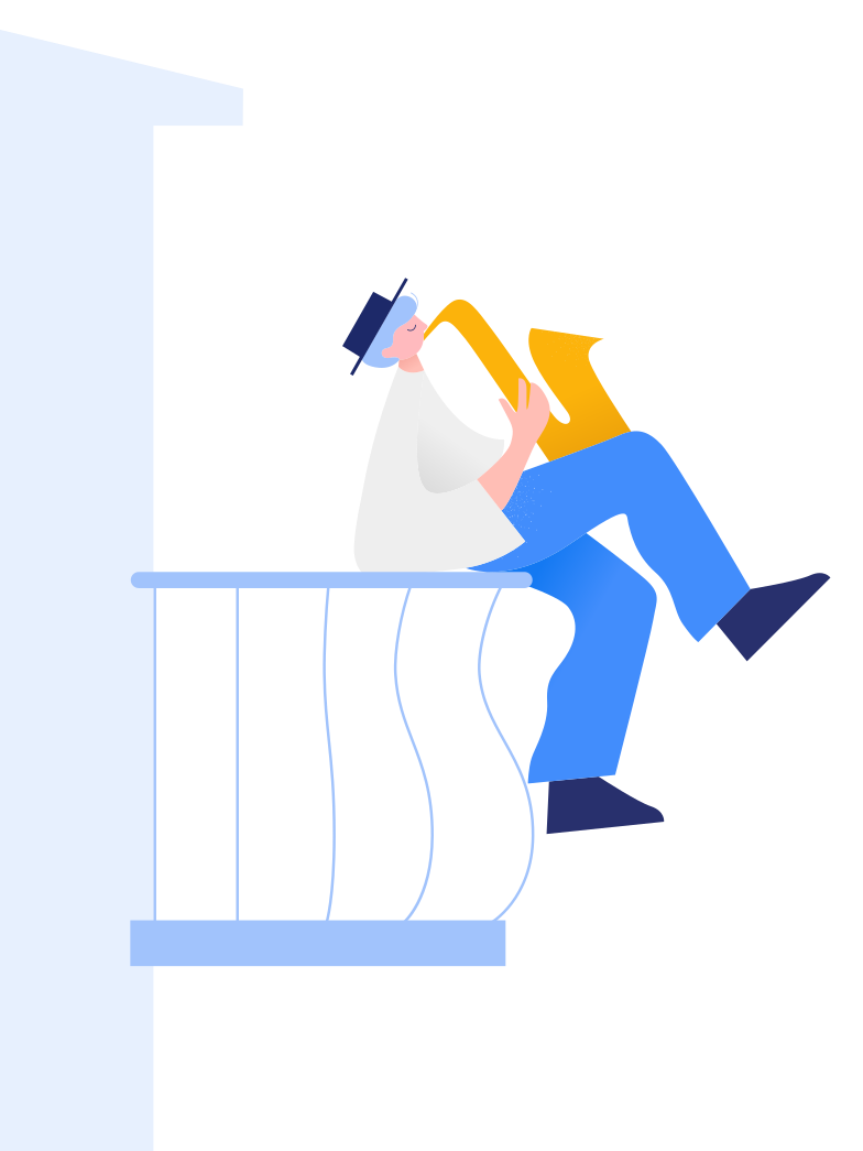 Man plays the saxophone on the balcony Clipart illustration in PNG, SVG