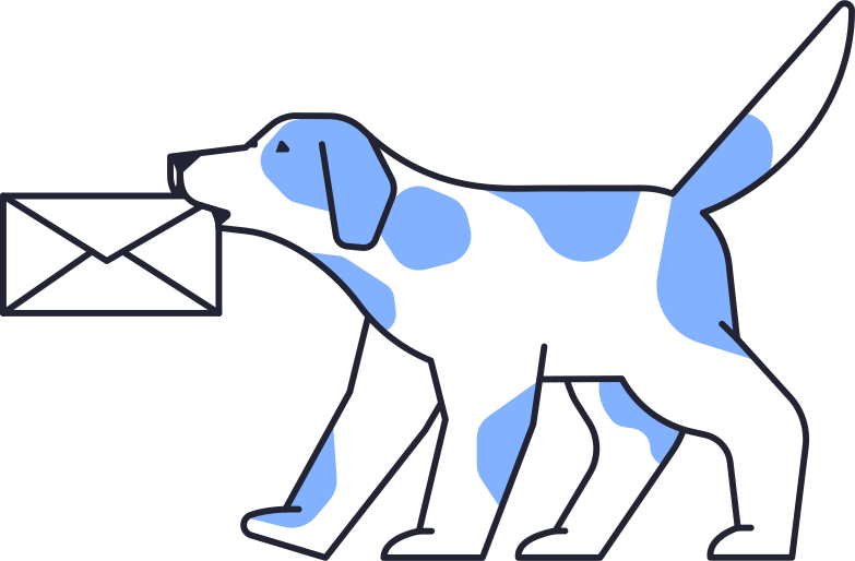 message sent  dog with message Clipart illustration in PNG, SVG