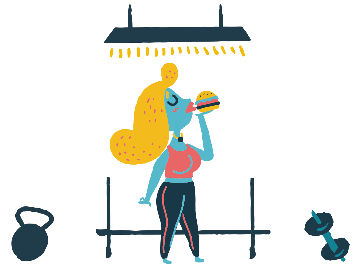 style She eats burger instead of training hard Vector images in PNG and SVG | Icons8 Illustrations