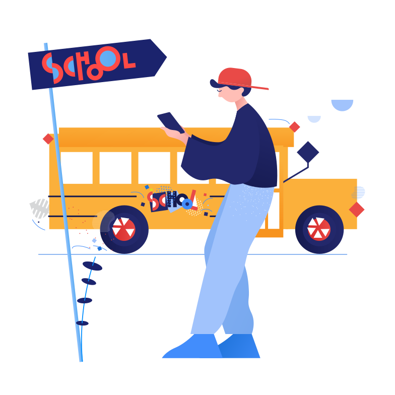 Pupil and school bus Clipart illustration in PNG, SVG