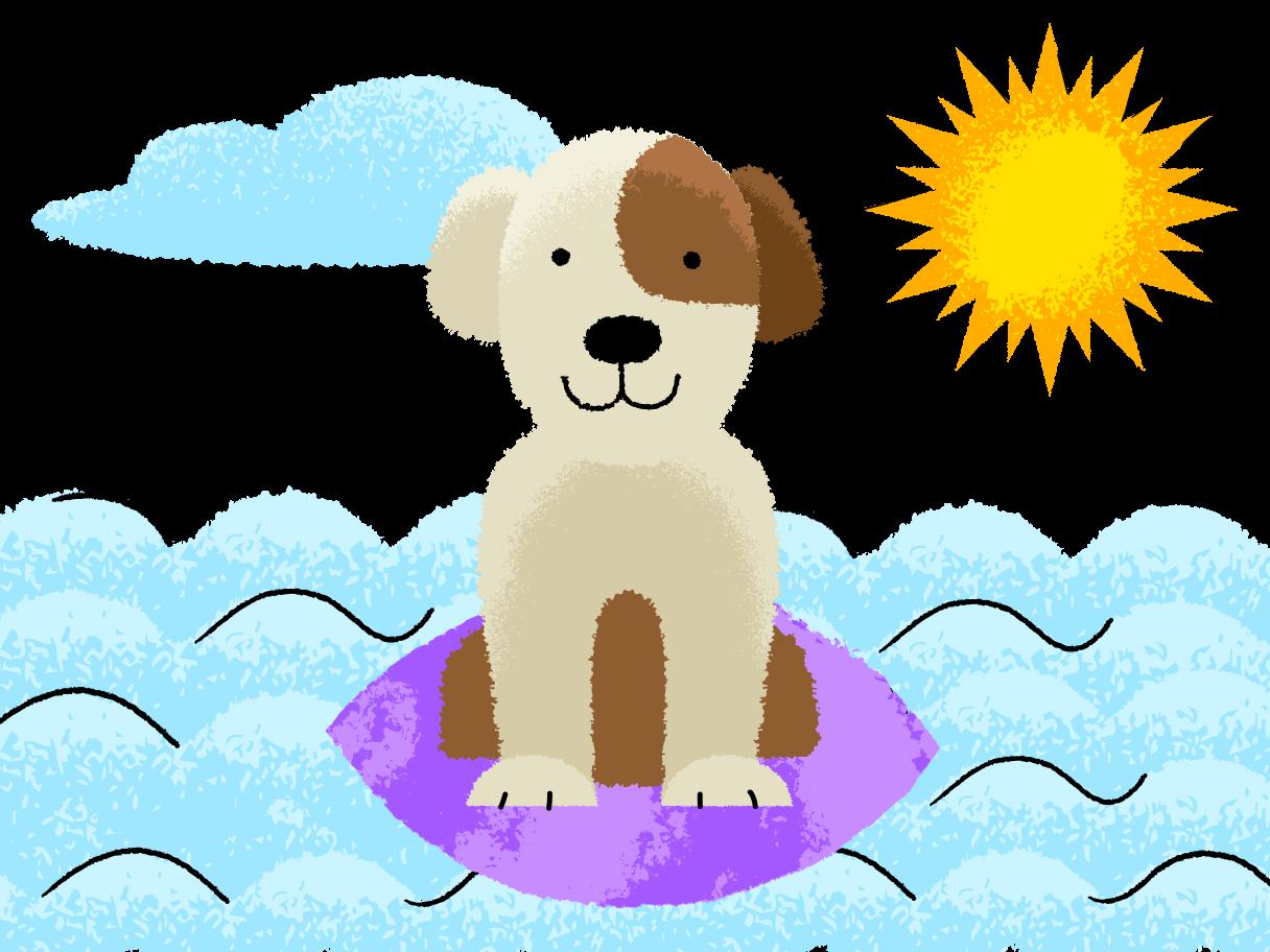 Dog surfer Clipart illustration in PNG, SVG