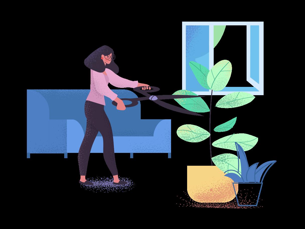 Gardener for home plants Clipart illustration in PNG, SVG