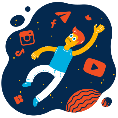 style Lost in social networks images in PNG and SVG | Icons8 Illustrations