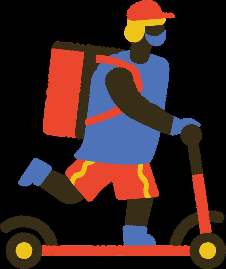 masked food delivery man on kick scooter Clipart illustration in PNG, SVG