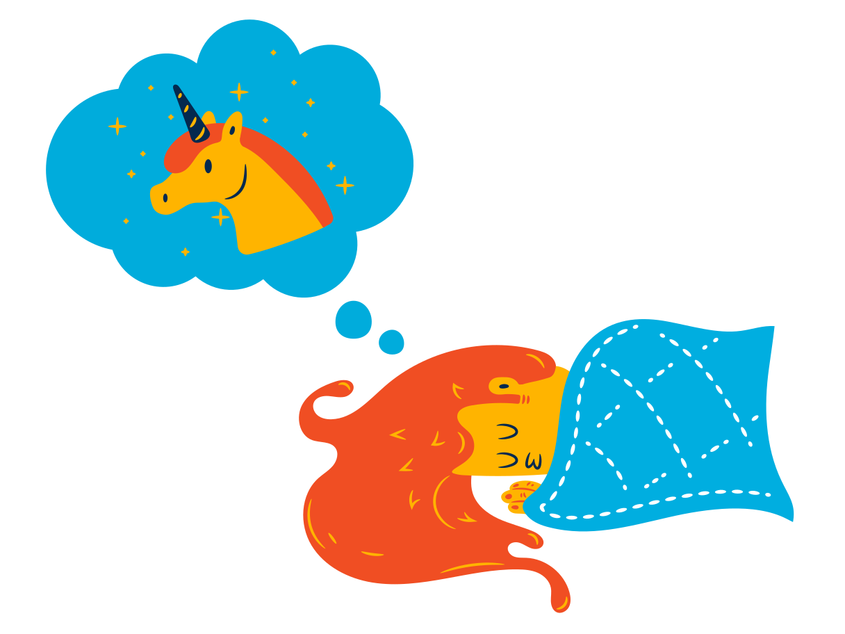 Dreaming of unicorns Clipart illustration in PNG, SVG