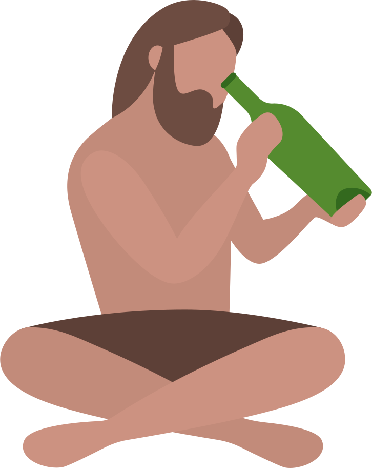 robinzon cruzo with empty message bottle Clipart illustration in PNG, SVG